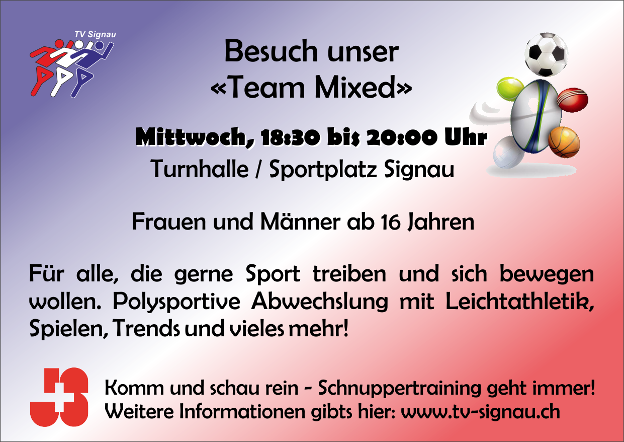 Flyer / Info Team Mixed